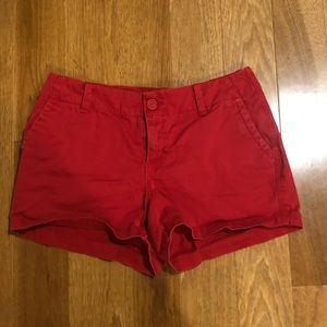 Red cargo shorts
